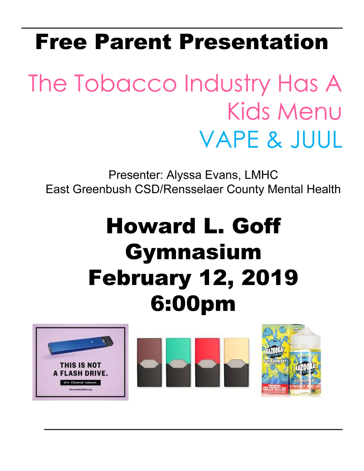 Goff Vape and Juul Parent Presentation flyer