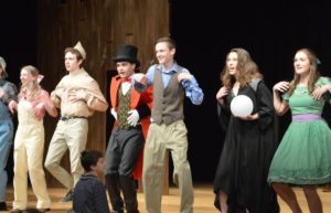 """Students performing in """"Big Fish"""" on CHS stage"""