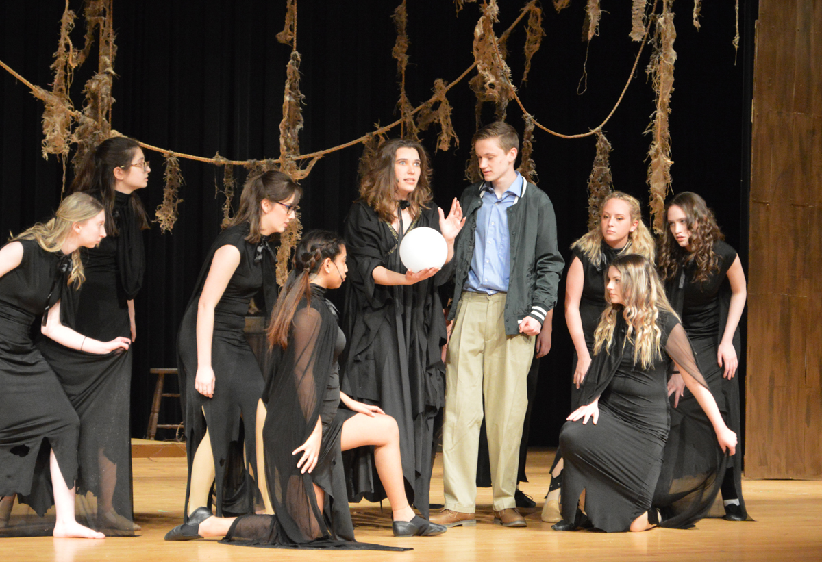 "Students performing in ""Big Fish"" on CHS stage"