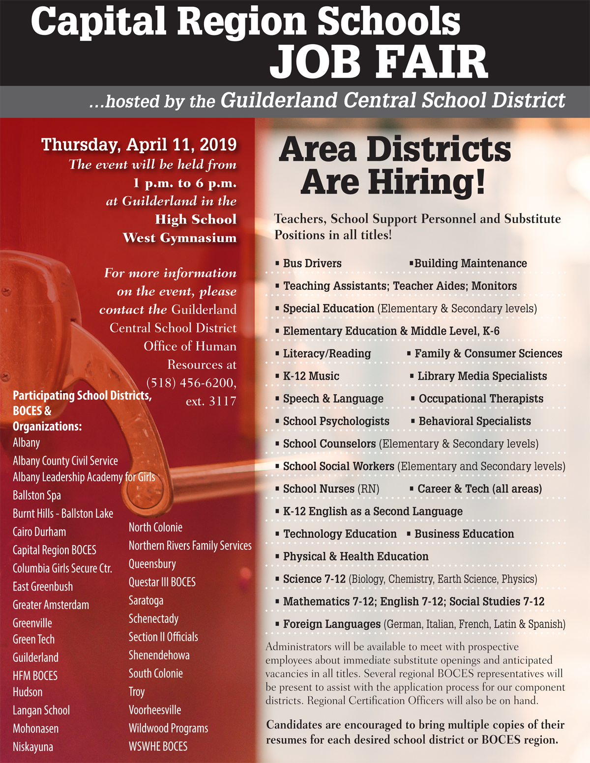 Capital Region Schools Job Fair flyer