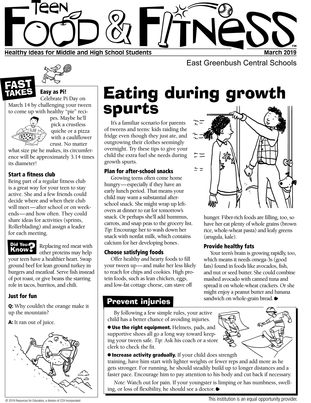 Food and Fitness March newsletter page 1