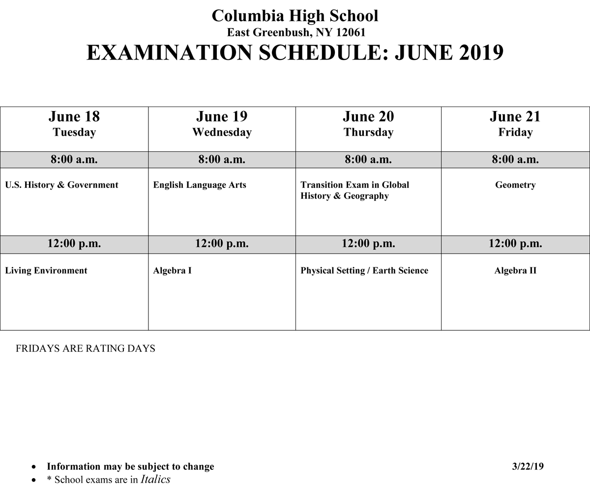 June 2019 Regents Schedule