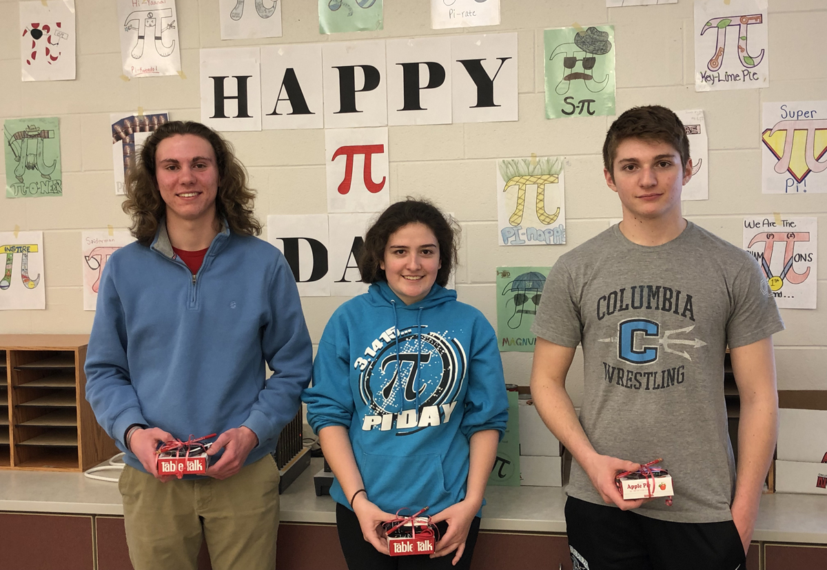Students in front of Pi Day display