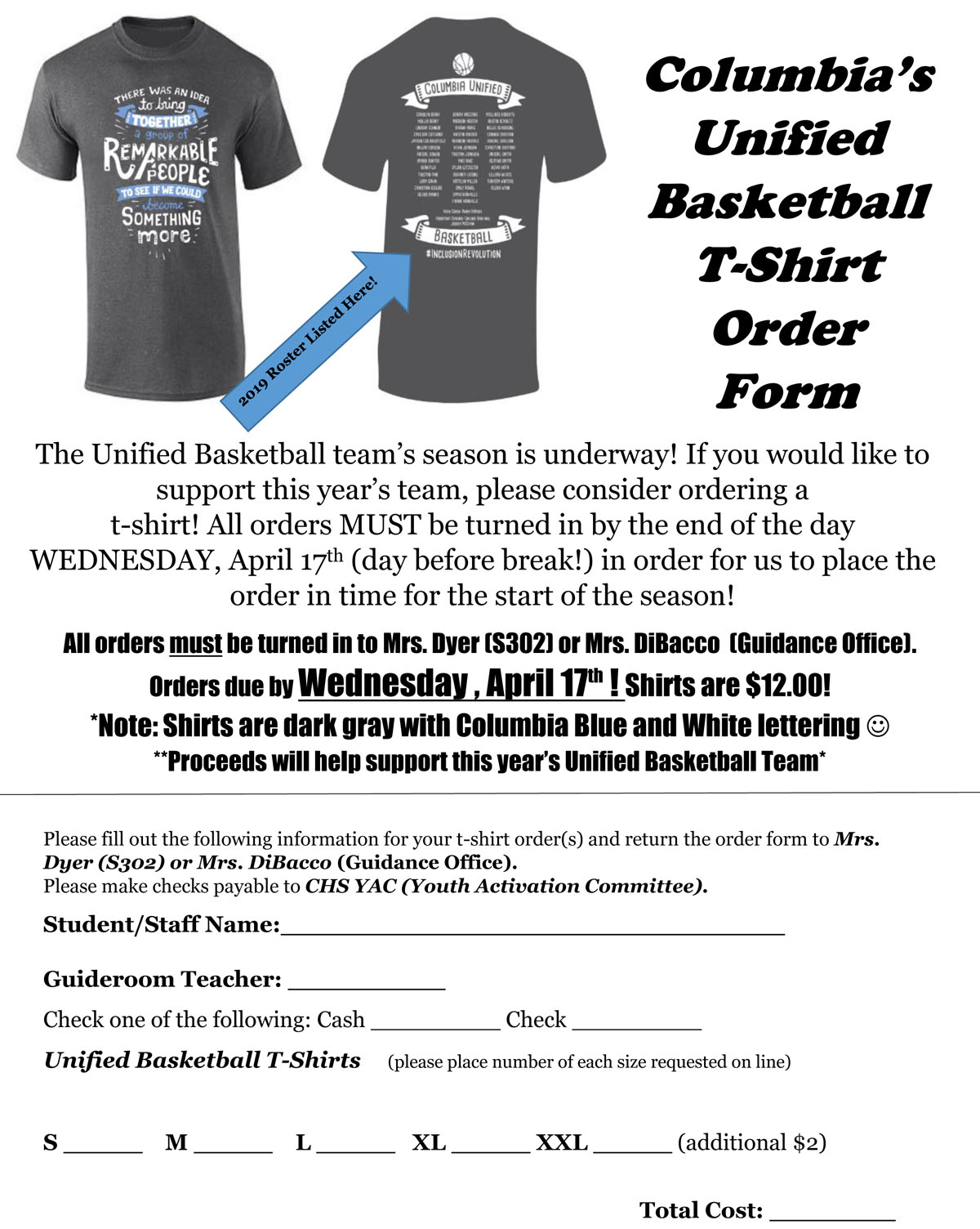 2019 Unified Basketball shirt order form