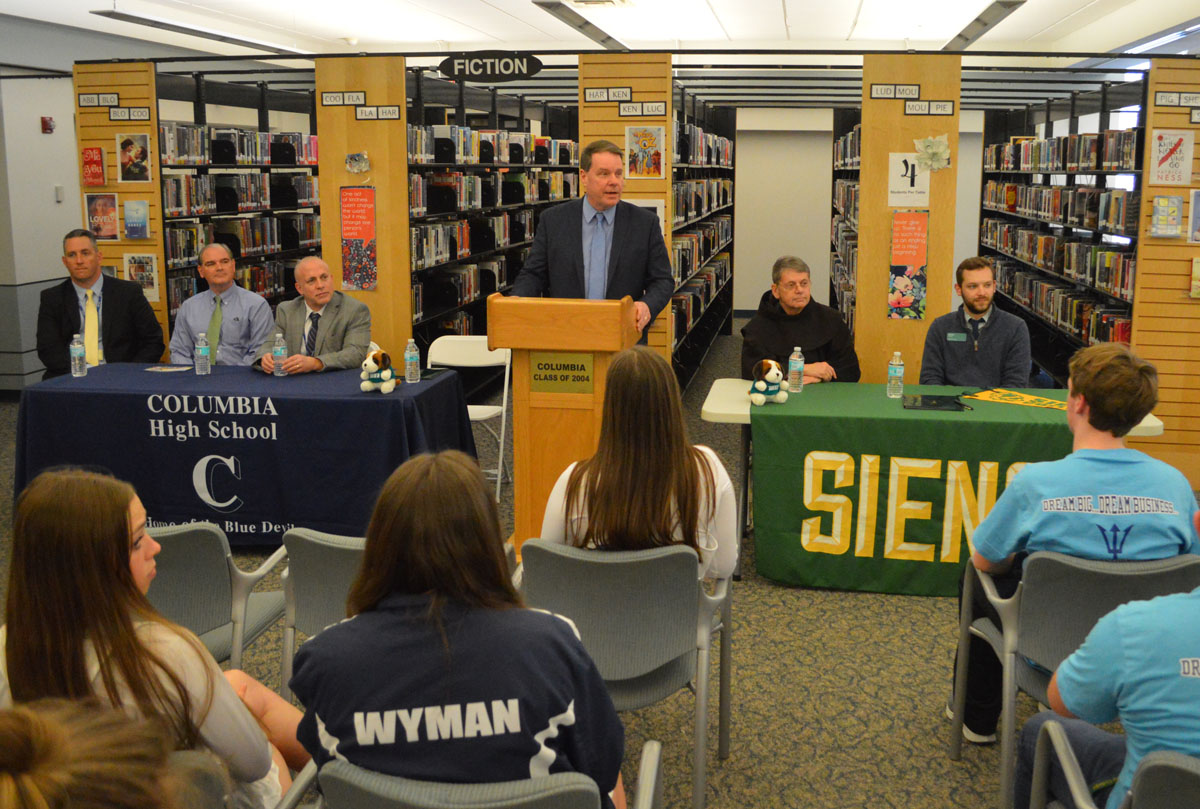 Superintendent Jeff Simons speaking at Columbia-Siena Early Assurance Program signing event