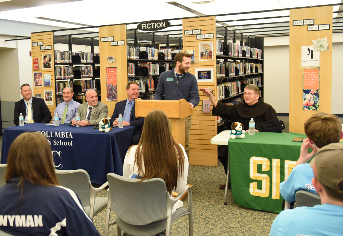 Siena admissions counselor John Bond speaking at event