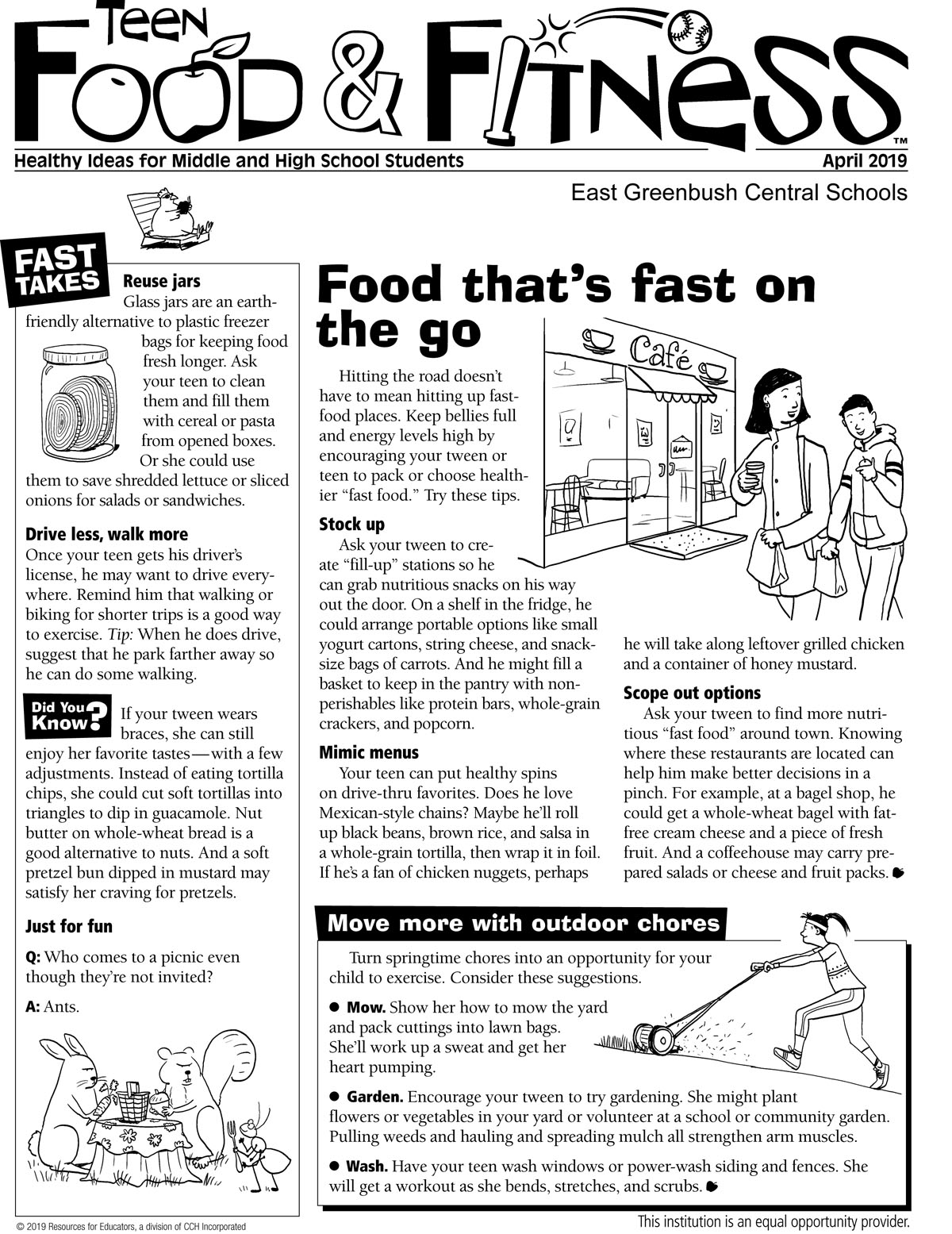 Food and Fitness April newsletter page 1