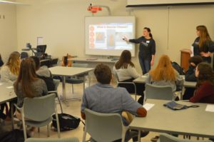 Students watch presentation about vascular health