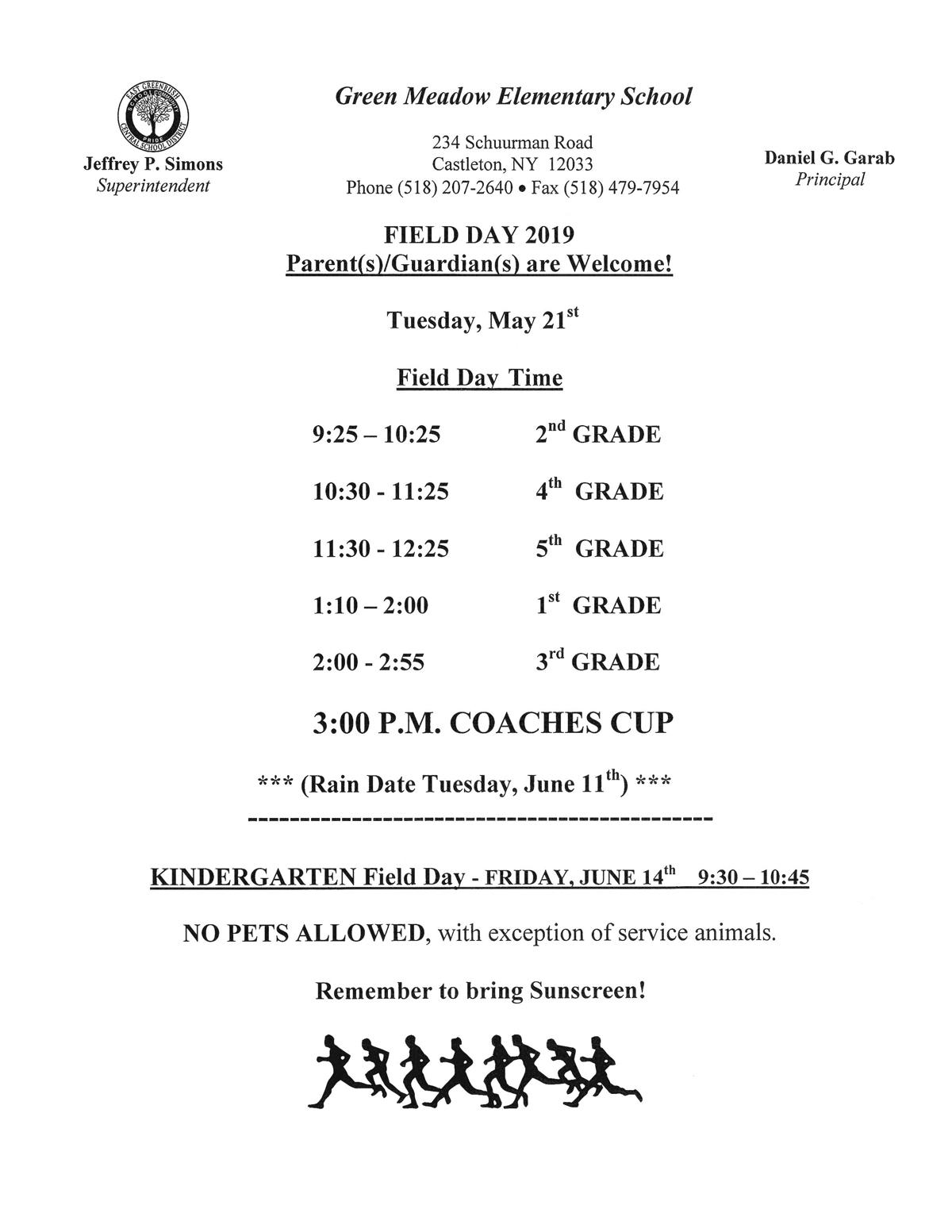 Field Day 2019 Schedule