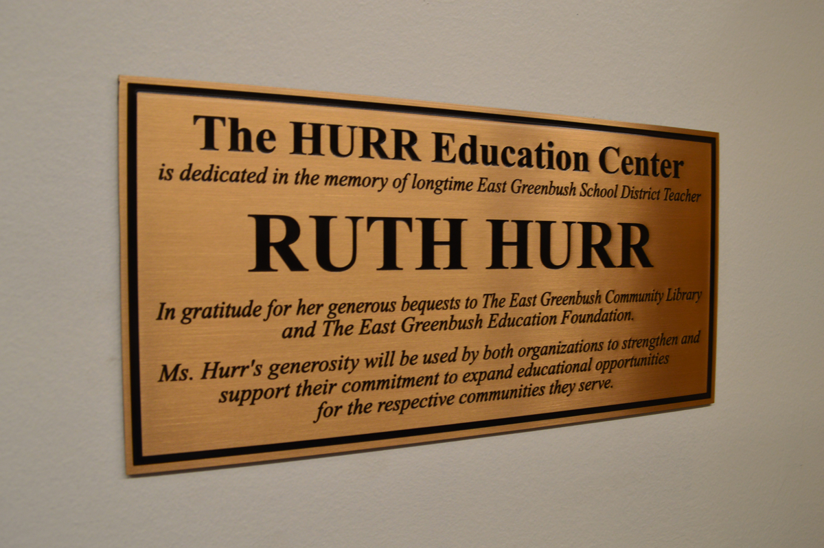 Plaque outside of the Hurr Education Center