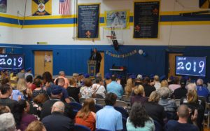 Principal Alvey addressing students, staff and families at the DPS Moving Up Ceremony