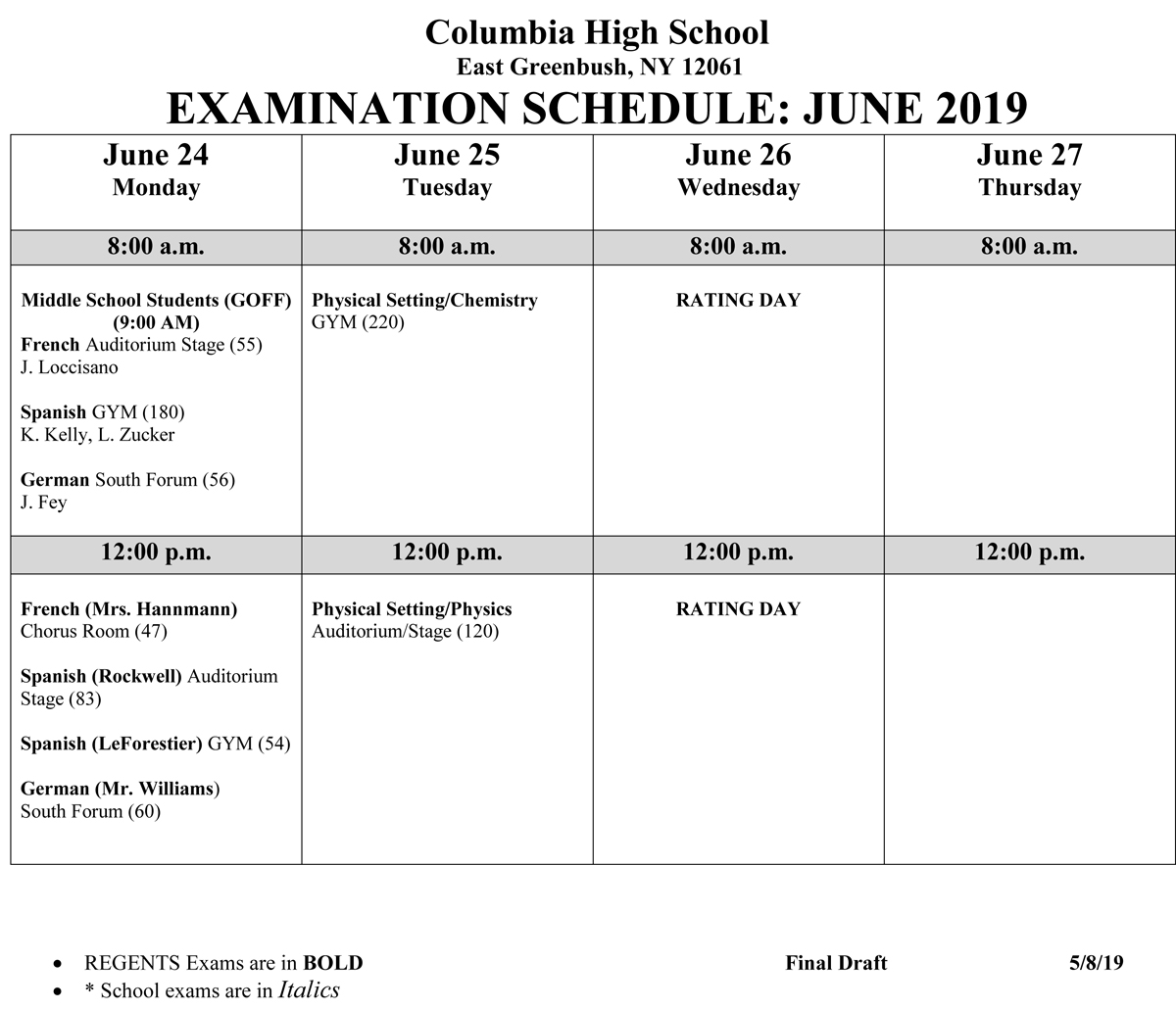 June 2019 Regents Exam Schedule page 2