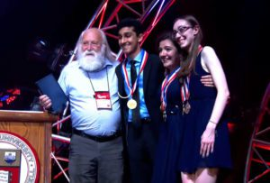 National Champions Ekansh Agrawal, Nina Tedeschi and Sydney Sill with Tim Herman, PhD., Director, MSOE Center for BioMolecular Modeling