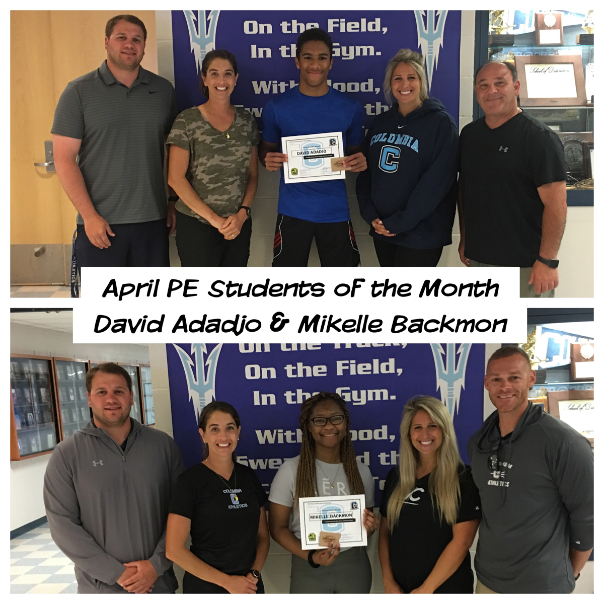 April PE Students of the Month