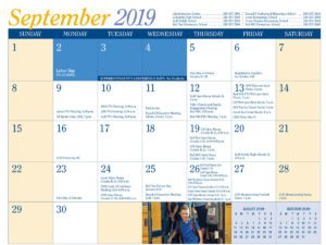 September 2019 from District Calendar