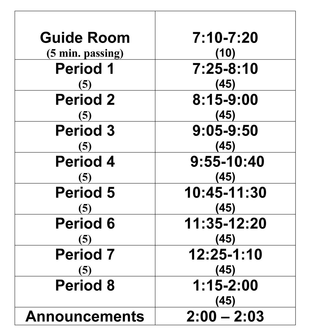 Columbia Class Schedule