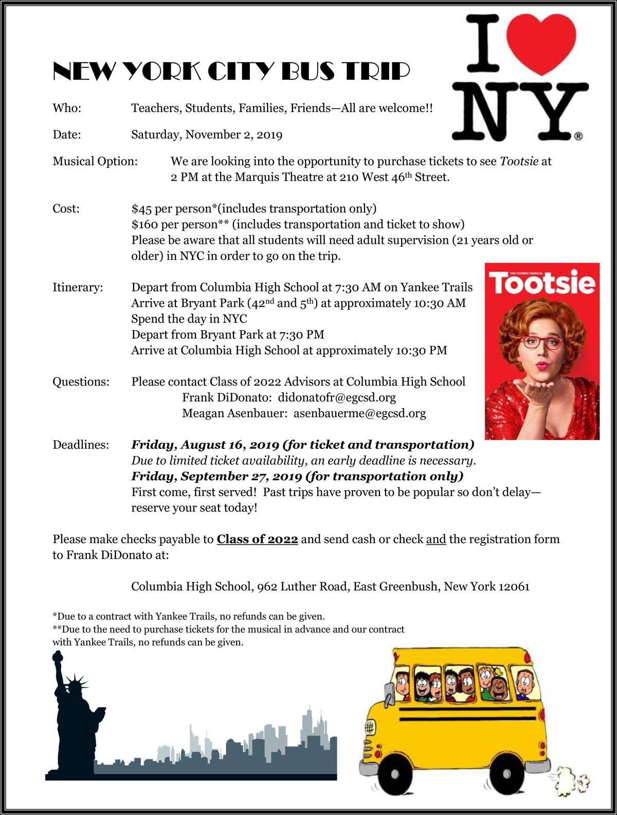 NYC Bus Trip flyer