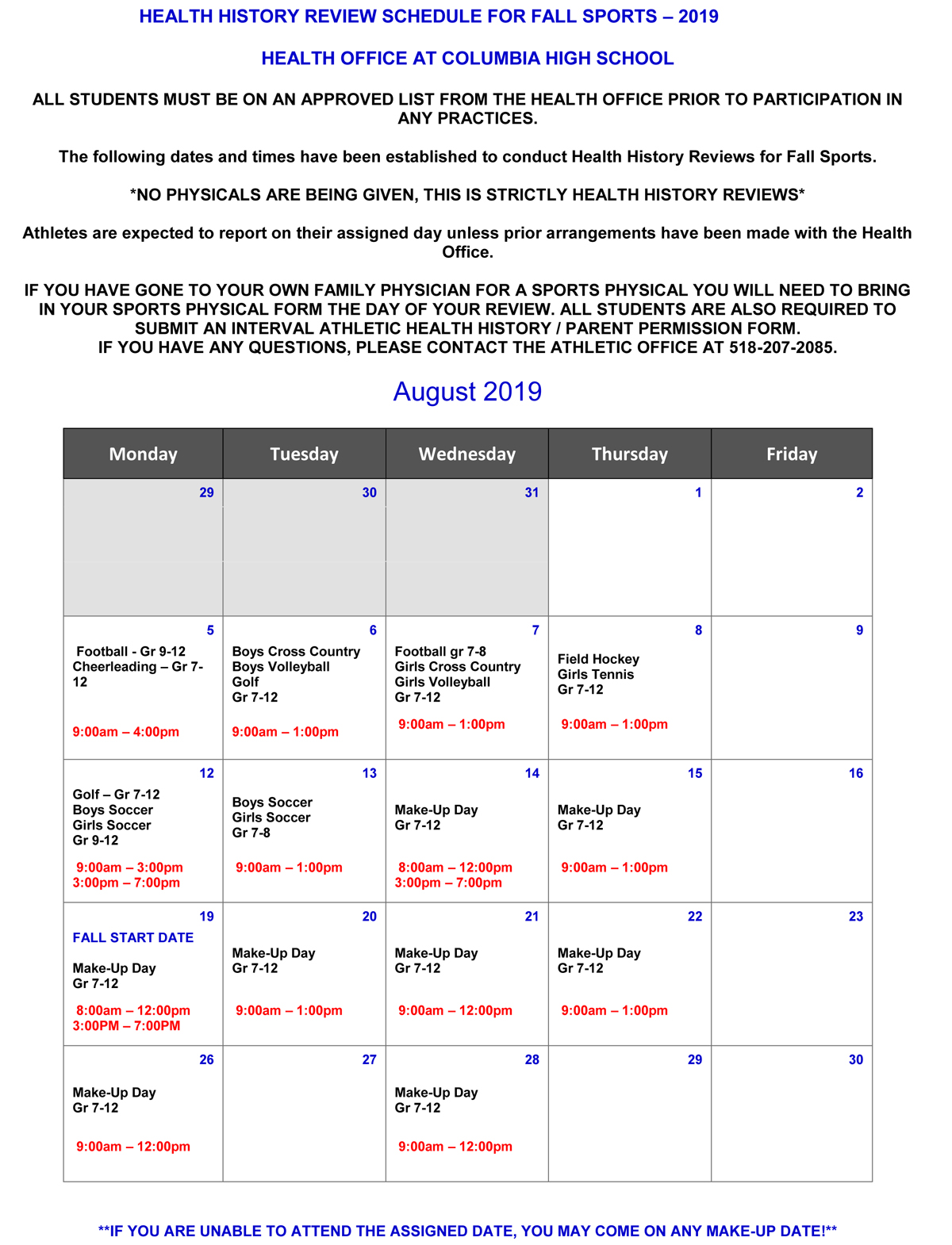 Calendar dates for Fall 2019 Health History Review