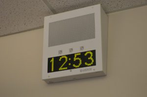 New PA system speaker with digital clock