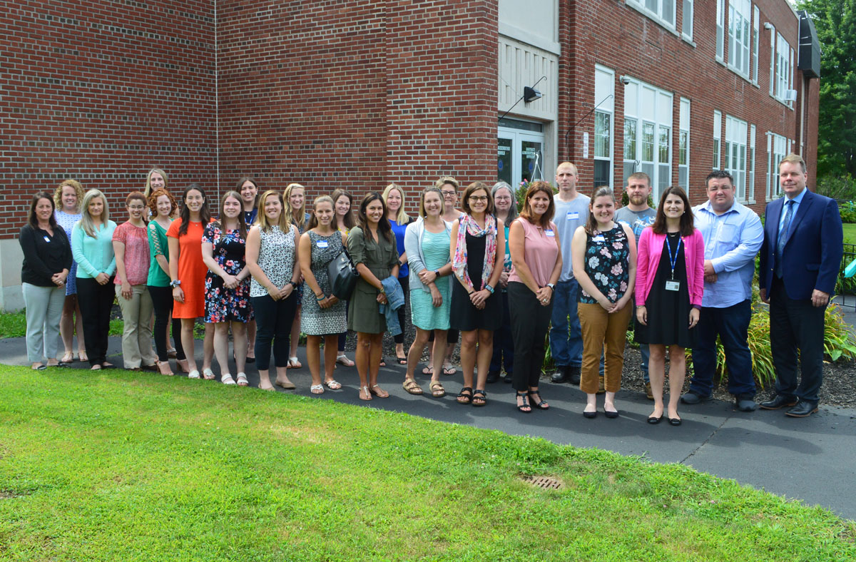 New teachers and staff at orientation