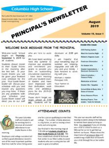 Columbia August Newsletter cover