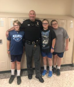 Deputy Russo with students at Locker Night