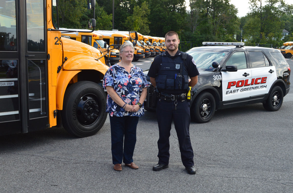 Transportation Supervisor MaryAnn Belmont and Officer Josh Witko