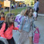 Students enter Genet Elementary School
