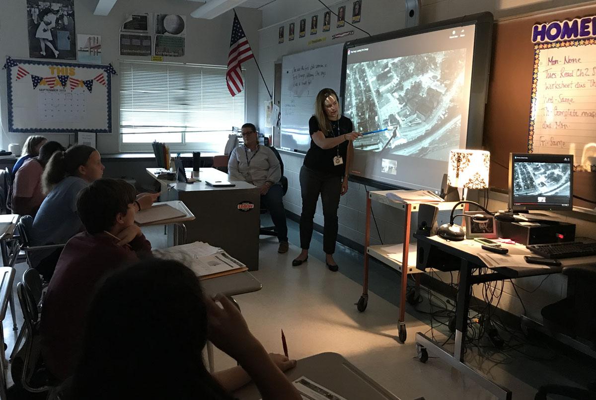 Social Studies teacher Kelyn Snyder teaching lesson