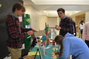 Students learn about tobacco and e-cigarettes at information table outside CHS cafeteria