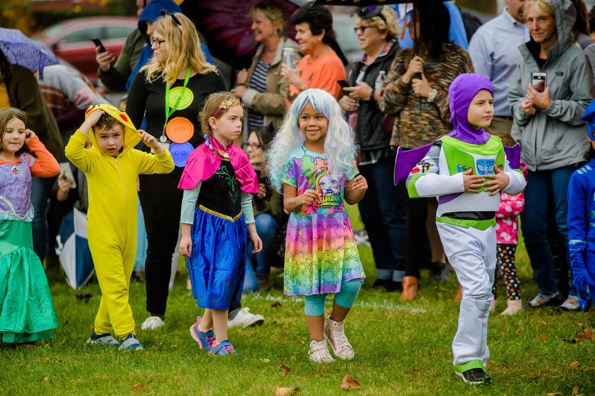 Green Meadow students walk in Halloween parade