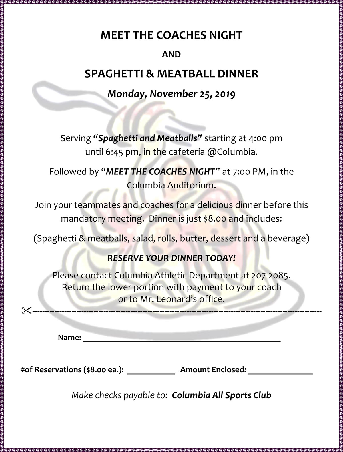 Columbia Athletics Pasta Dinner Order Form