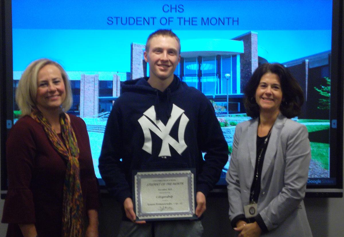Kason Romanowski with Mrs. Gruet and Mrs. Shepardson