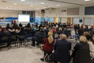 Superintendent Jeff Simons gives presentation at School Start Time Community Forum in Goff cafeteria