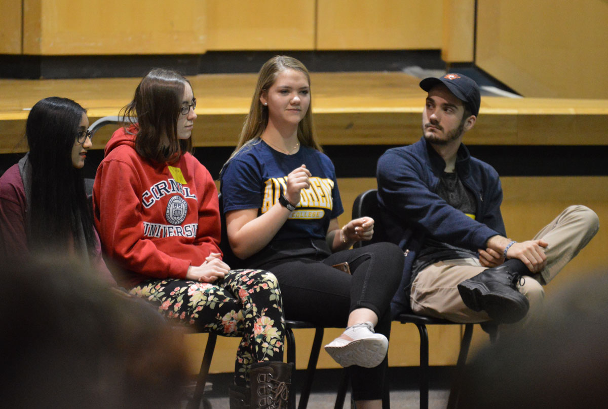 Students from the Class of 2019 discuss their college experiences with current students in the Columbia auditorium