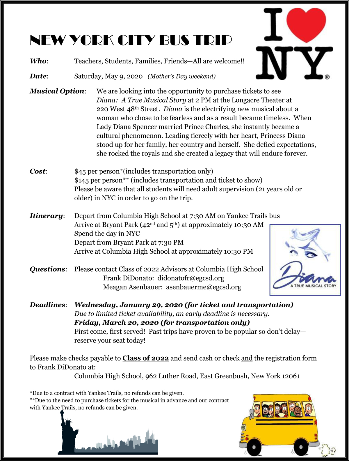 NYC bus trip registration form