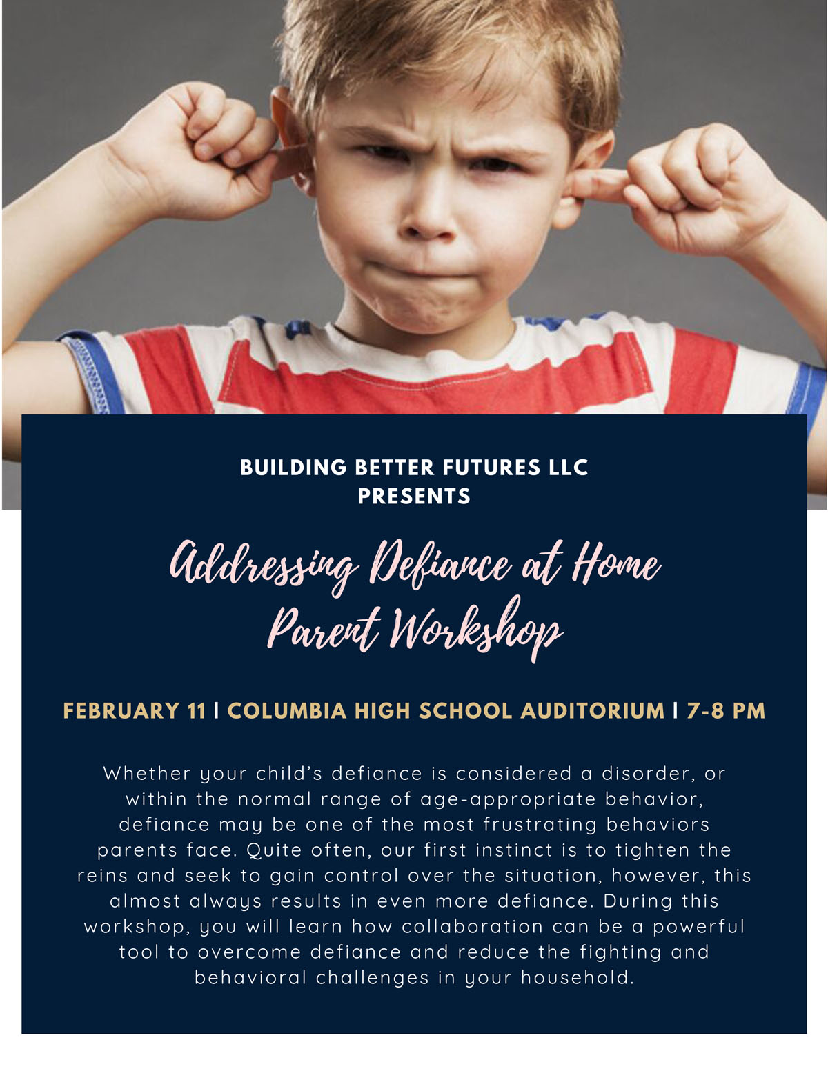 Addressing Defiance at Home parent workshop Flyer