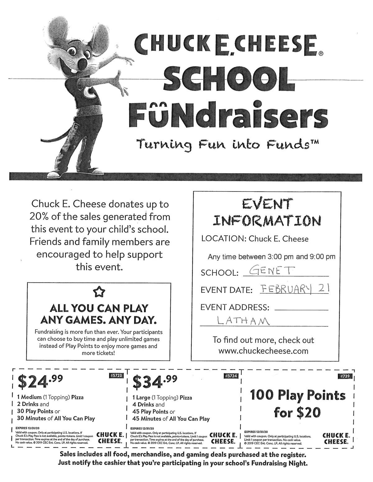 Chuck E Cheese Fundraiser flyer