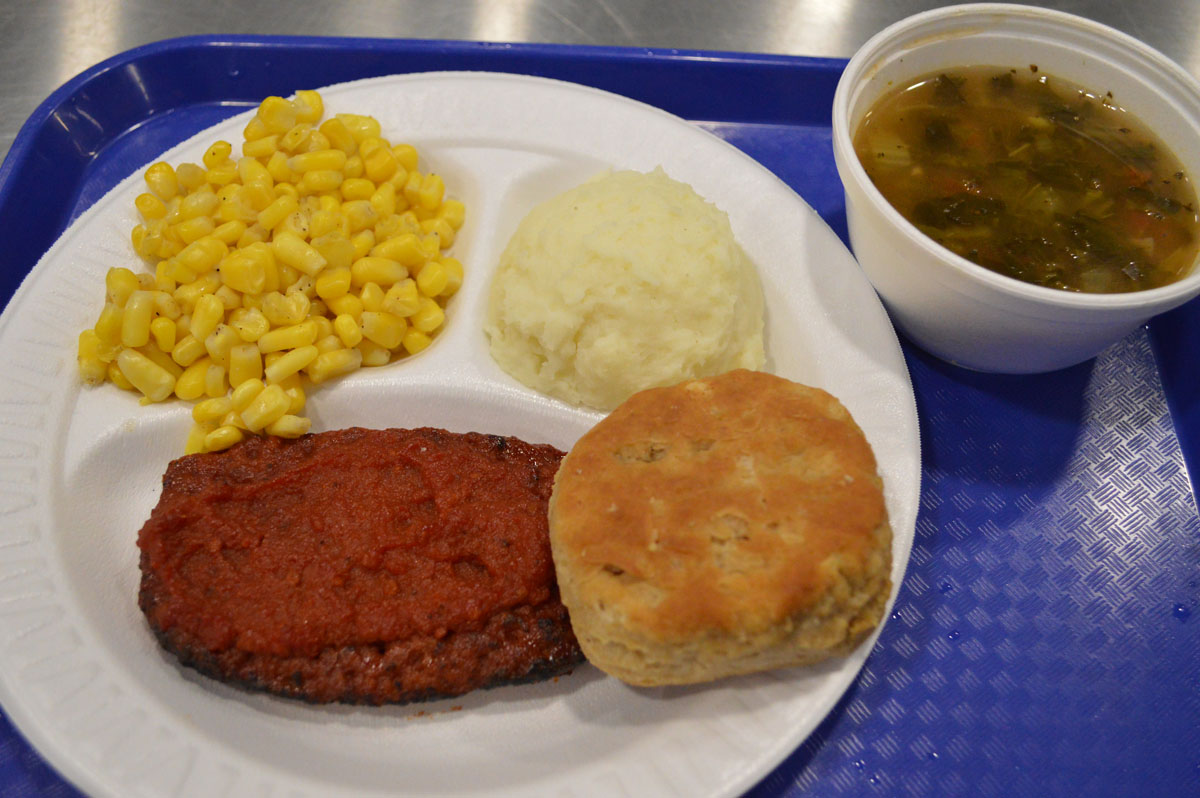Meatloaf with vegetables and soup