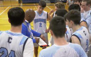 Boys' basketball huddle