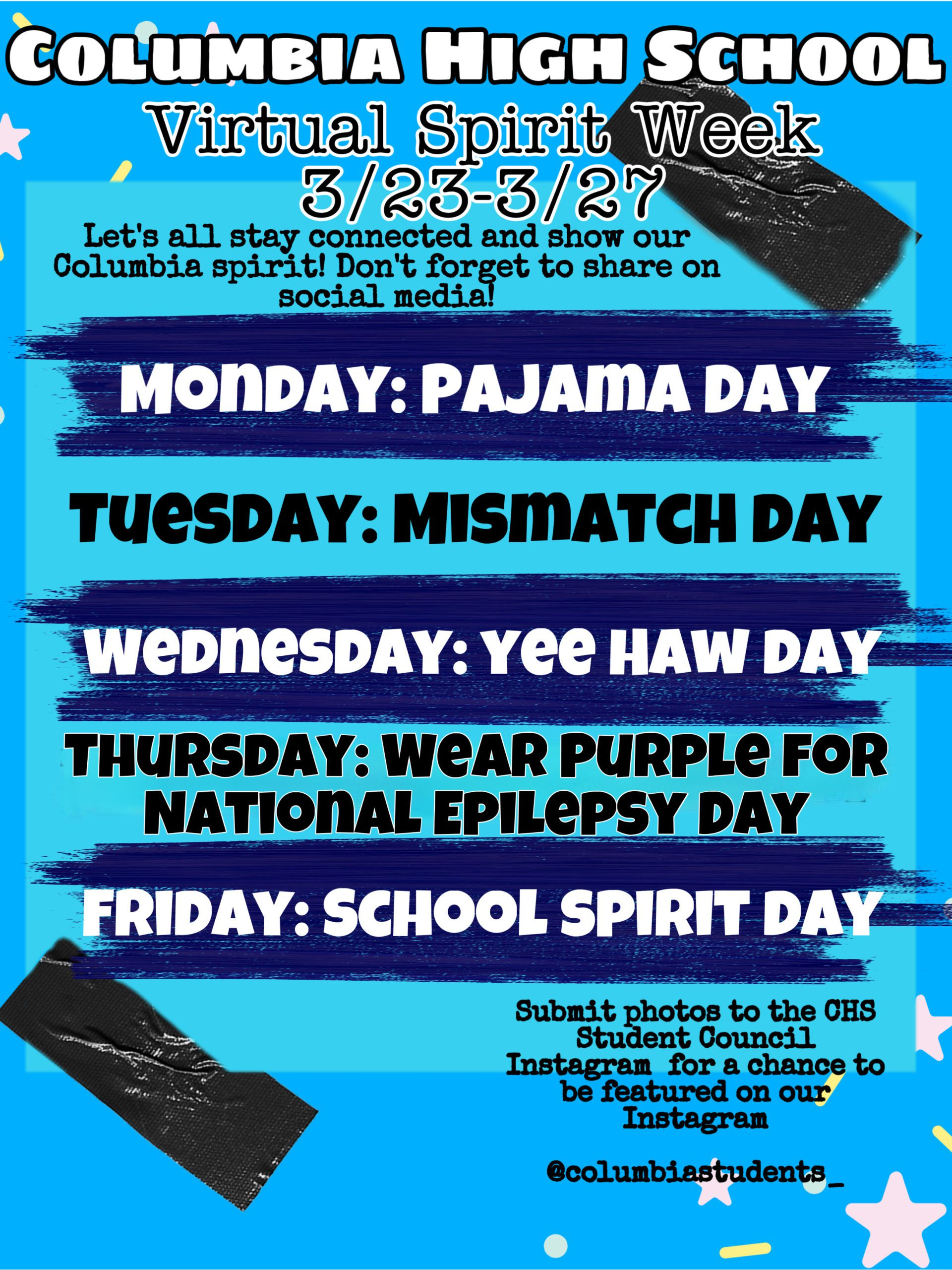Columbia Virtual Spirit Week schedule