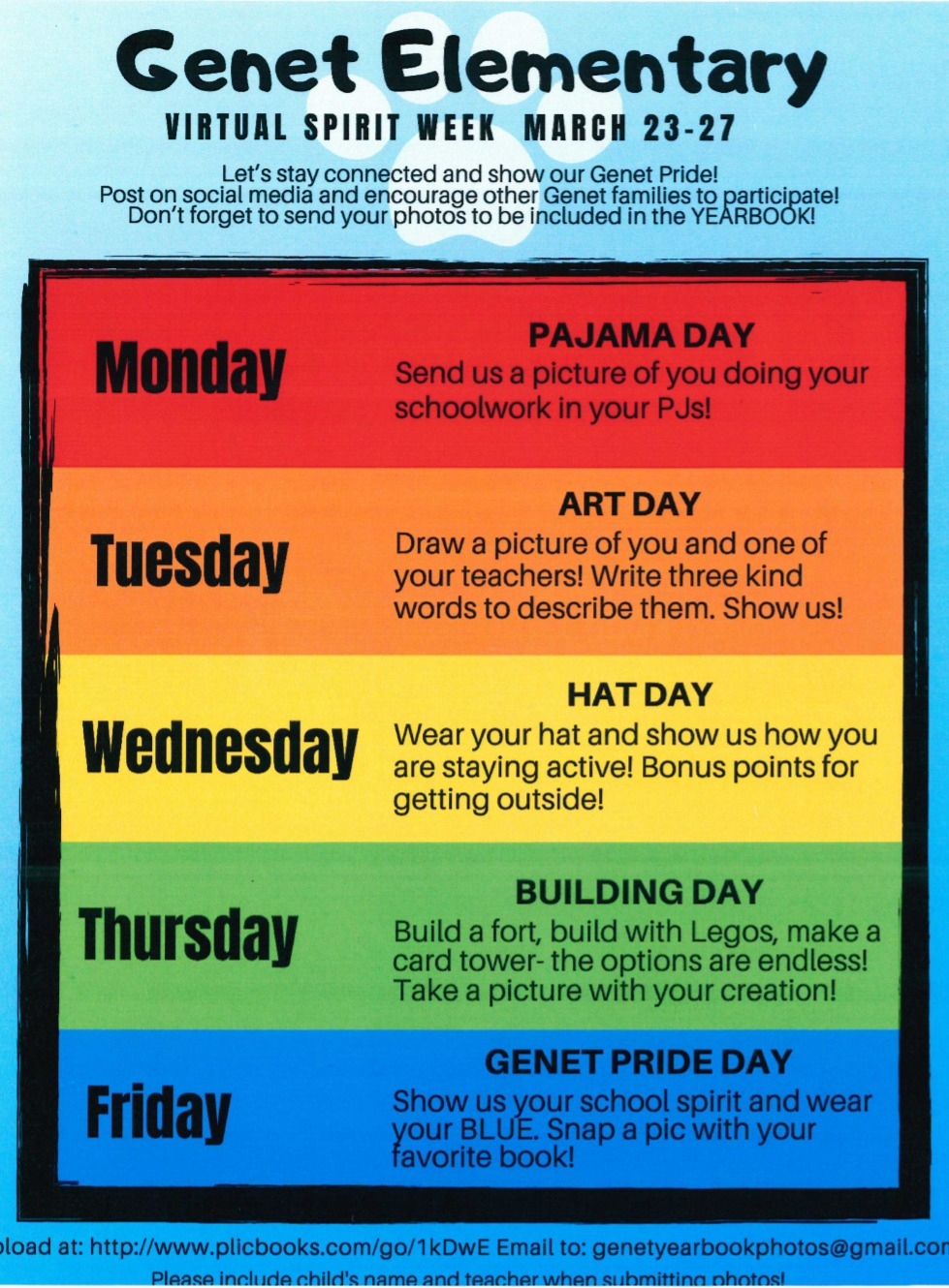 Genet Virtual Spirt Week schedule