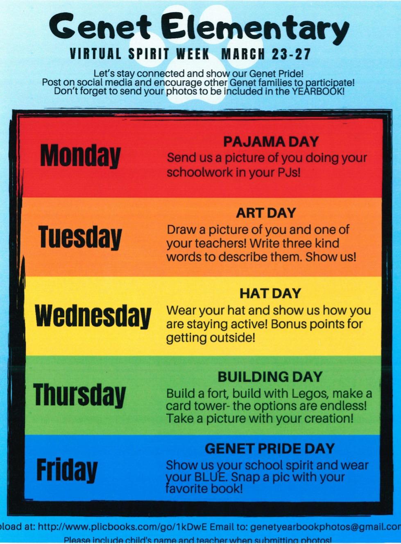 Genet Virtual Spirt Week schedule