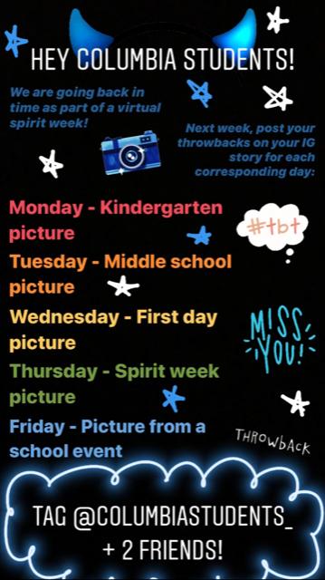 CHS Virtual Spirit Week Schedule