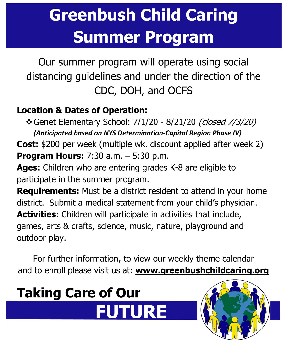 Greenbush Child Caring Summer Flyer 2020