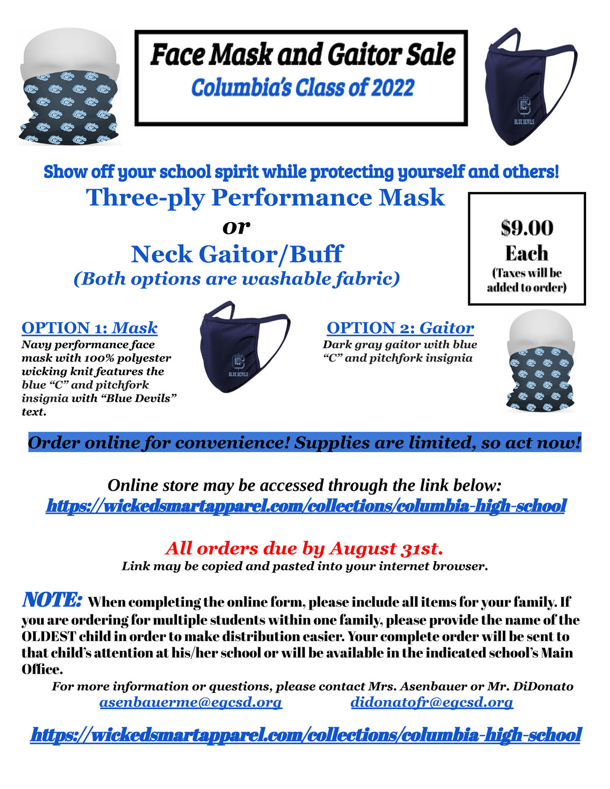 Face Mask and Gaitor Sale Flyer