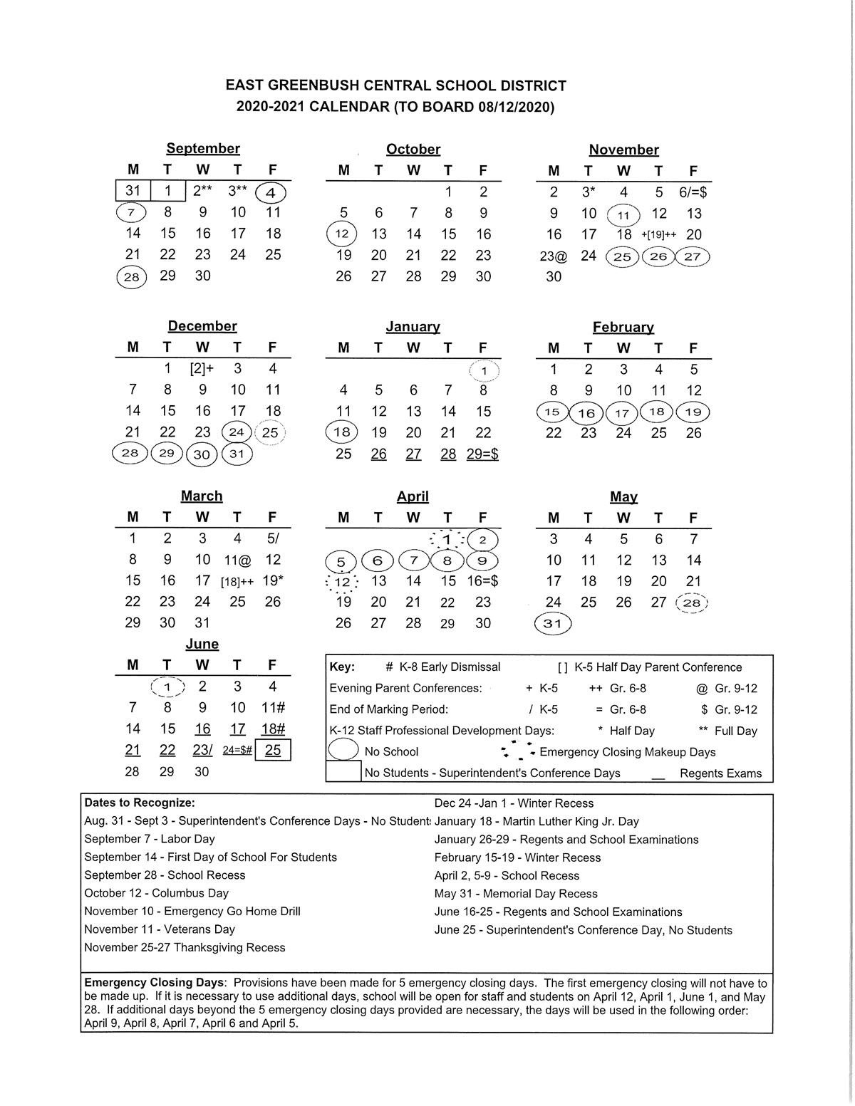 District Calendar 2020-21 Revised