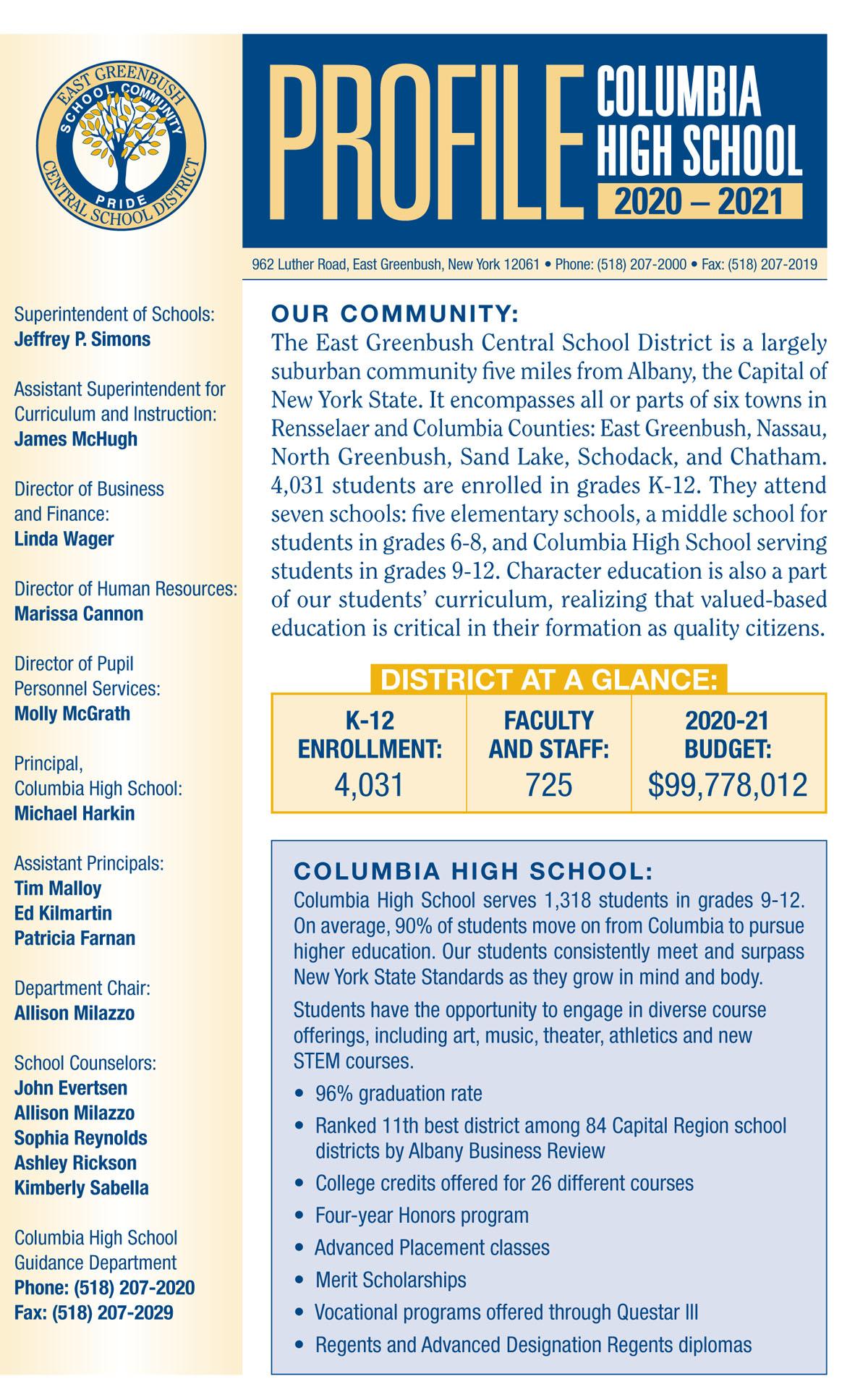 2020-21 CHS Class Profile cover