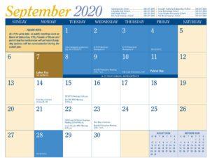 2020-21 District Calendar September