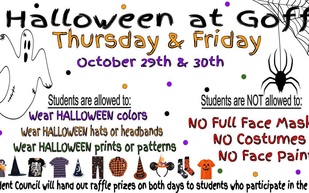 Goff Halloween Spirit Days – October 29 and 30